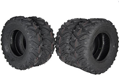 s ATV Dual Compound Tread Mud Sand Snow and Rock Tires (Four Pack Two Front 25x8-12 Two Rear 25x10-12) ()