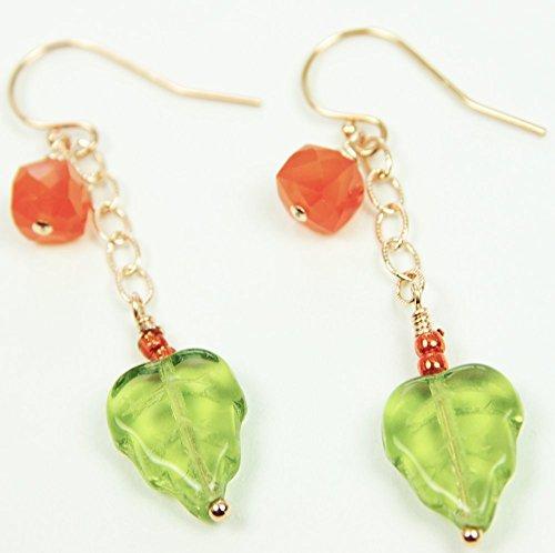 Leaf Earrings 14kt Rose Gold Filled Orange Carnelian Green Glass Beaded Dangle
