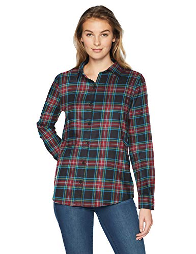 Amazon Essentials Women's Long-Sleeve Classic-Fit Lightweight Plaid Flannel Shirt Shirt, -black tartan, Large ()
