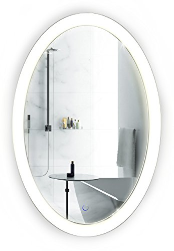Krugg Oval LED Bathroom Mirror 20 Inch x 30 Inch | Lighted - Bathroom Height For Standard Wall A Mirrors