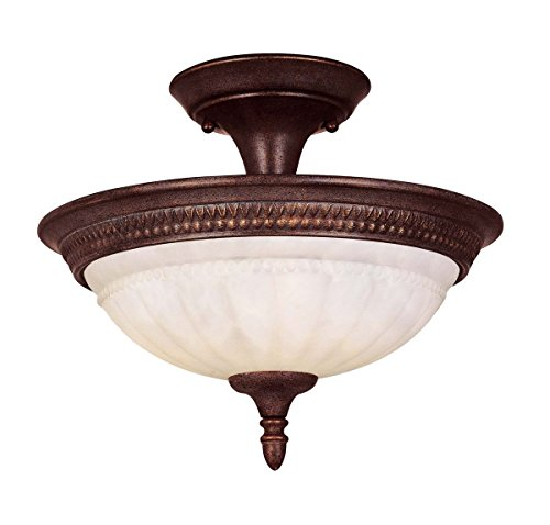 Elegant Semi Flush Lighting (Savoy House KP-6-507-2-40 Semi-Flush with Cream Marble Shades, Walnut Patina Finish)