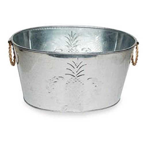 UPC 682470625510, Farmhouse Small Oval Galvanized Steel Beverage Tubs with Handles (Pineapple)