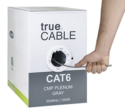 Cat6 Plenum (CMP), 1000ft, Gray, 23AWG 4 Pair Solid Bare Copper, 550MHz, ETL Listed, Unshielded Twisted Pair (UTP), Bulk Ethernet Cable, trueCABLE - Gray Plenum Jacket