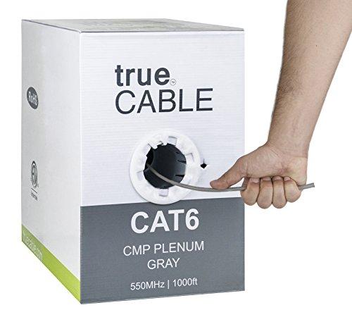 Cat6 Plenum (CMP), 1000ft, Gray, Solid Bare Copper Bulk Ethernet Cable, 550MHz, ETL Listed, 23AWG 4 Pair, Unshielded Twisted Pair (UTP), trueCABLE (Cable Data Plenum)