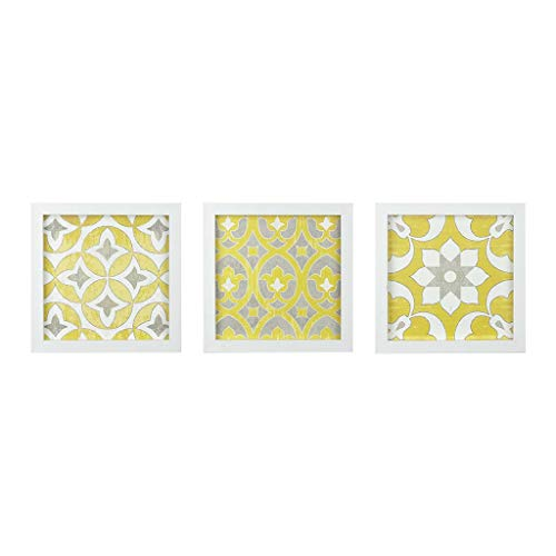 Madison Park Tuscan Tiles Framed Grey White Canvas Wall Art 12X12 3 Piece Multi Panel, Abstract Global Inspired Wall Décor - Tile Framed