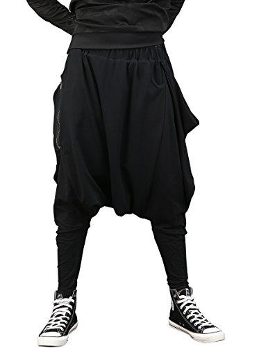 ELLAZHU Men Fashion Drop Crotch Loose Harem Long Pants GYM161