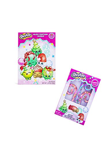 Shopkins Holiday Advent Kids Children Countdown Calendar With 24 Milk Chocolates and Shopkins Curly Candy Cane Gift Set!