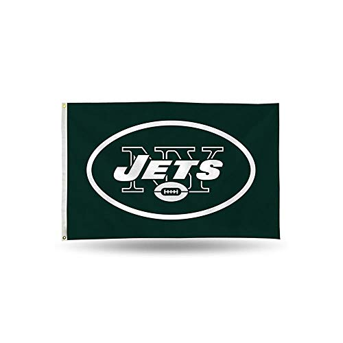 Rico NFL New York Jets 3-Foot by 5-Foot Single Sided Banner Flag with Grommets
