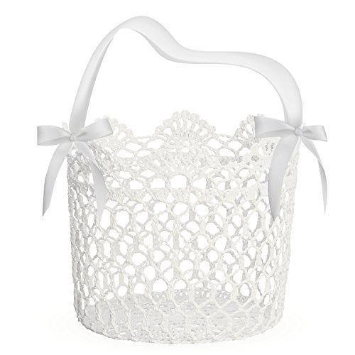 Unomor Flower Girl Basket for Wedding Decoration, Handle with Silk Ribbon and Box Package,5x5x5Inch(White) ()
