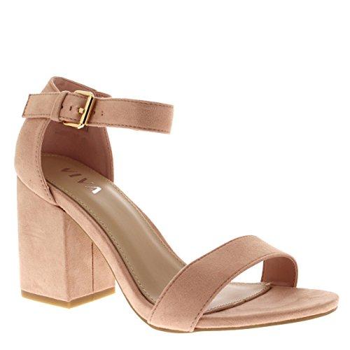 Viva Womens Wide Mid Block Heel Suede Ankle Strap Casual Shoe Sandals Pink 6usRjbgt0