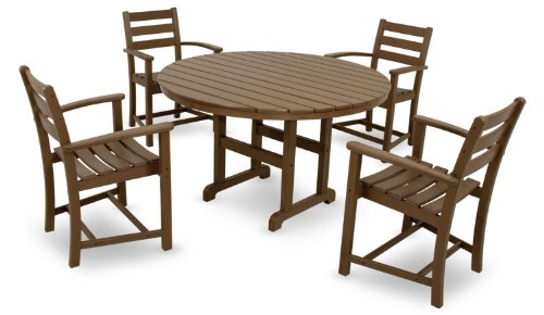 """Trex Outdoor Furniture TXRT248TH Monterey Bay Round Dining Table, 48-Inch, Tree House - 48"""" round dining table offers seating space for four and is constructed of durable HDPE recycled lumber Unlike real wood, HDPE recycled lumber won't rot, crack or splinter; durable HDPE lumber gives the look of painted wood without the maintenance Resists environmental stresses including stains, insects, corrosive substances and salt spray; all hardware is genuine stainless steel - patio-tables, patio-furniture, patio - 41cqBMHh GL -"""