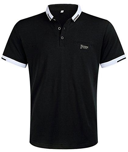 Musen Men Short Sleeve Polo Shirt Cotton Regular Fit T-Shirts Black XXL Cotton Pique Sport Shirt