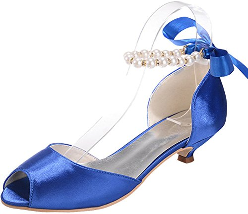 Blue Bridesmaid Prom Kitten Satin 37 Comfort Ankle Toe Fashion Sandals Dress 11 Wedding Bride Work Strap Smart Party 0700 5 Ladies Heel Pearl Peep Eu n1Tx8