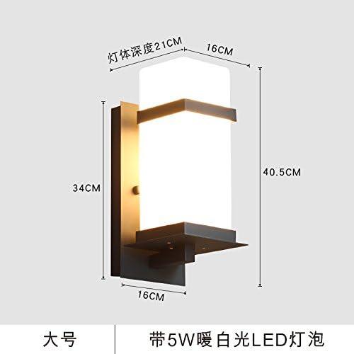 YU-K Modernos apliques de pared exterior impermeable lámpara led luces de patio para el jardín luces de exterior patio exterior impermeable de cerco de luz, grande, con 5W Bombilla LED blanco cálido: