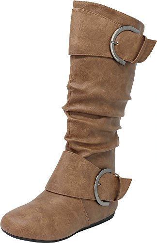 Mid Boots Calf Toe - Cambridge Select Slouchy Pull On Mid Calf Round Toe Buckle Boot (8 B(M) US, Cognac)