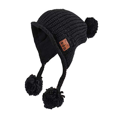 Pococina 4.2 Bluetooth Beanie Music Hat Winter Knit Hat with Pom Pom and Earflap Pom Wireless Headphone Musical Speaker Beanie Hat as Birthday Gifts for Women Teen Girls, Built-in Mic - 036A Black