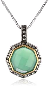 "Judith Jack ""Mini Octagons"" Sterling Silver, Chalcedony, and Marcasite Pendant Necklace, 18"""
