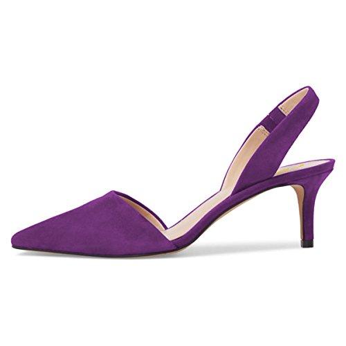 Fsj Femmes Pompes Robe Décolletée Talons Chaton Sandales Slingback Bout Pointu Chaussures Confort Taille 4-15 Nous Violet