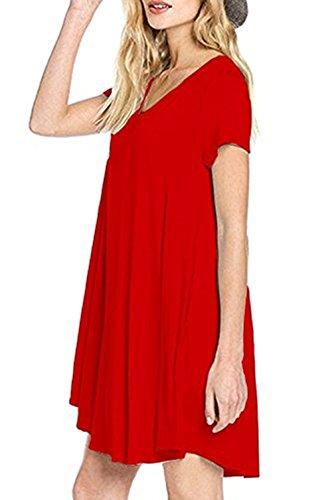 Da Allentato Breve Estate Tasche Donna shirt Battente Vestito Casuale Manicotto Rosso T 1xgBx