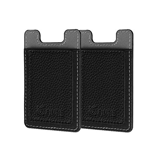 Cell Phone Credit Card Holder [2 Pack], Fintie Premium PU Leather Stick on ID Business Card Wallet Case Pouch for iPhone Samsung Galaxy LG and Most Smartphones, Black