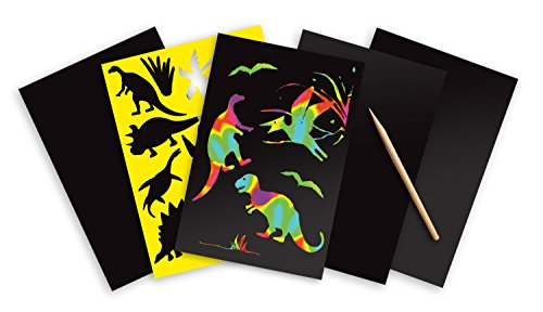 Melissa & Doug Scratch Art Activity Kit: Dinosaurs - 4 Holographic Boards