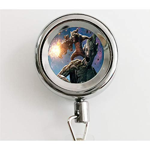 (asd Guardians of The Galaxy Souvenir Necklace Star Lord Tree Man Gamora Drax The Destroyer Rocket Time Gem Pendant 1 Retractable Badge Reel with Waterproof ID Holders & Keychain)