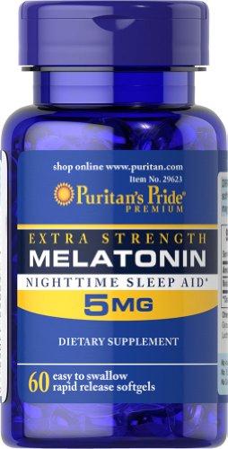 Fierté Force supplémentaire de Puritan Mélatonine 5 mg-60 gélules