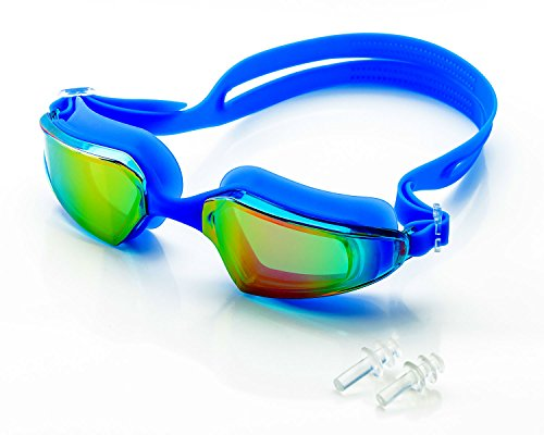 - SLS3 Swim Goggles | Comfortable Mirrored Swimming Goggles with Anti-Fog Lenses | TRIATHLON | UV Protection | Free Protection Case for Adults Men Women | Ear Plugs (Blue)