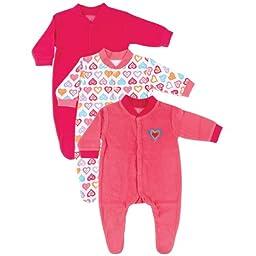 3-Pack Terry Sleep N Play, Pink Hearts, 3-6 months