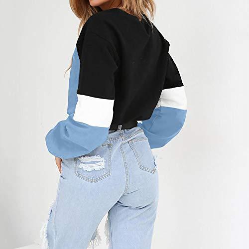 Pull Chemisier Bleu Femme Sweatshirt manches Splcing Chic Tops Bringbring Longues Couleur TA0q77w