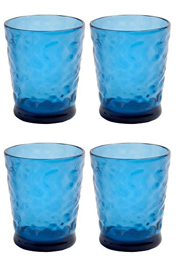 Nantucket Home Blue Seaglass Acrylic DOF Double Old Fashioned Glasses, Set of 4