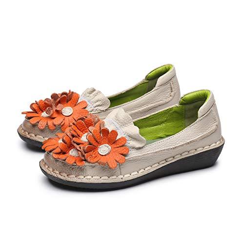 Plats Chaussures Eu Vintage 38 Blanc En Et Bleu Plates Fleurs Femmes Talons Dcontractes Qiusa couleur Taille Pour Cuir BqBfrn0RZ