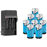 8 Pack 16340/ RCR123A Rechargeable Lithium Battery, Zeasun 800 mAh 3.7V Battery with Dual Channel 16340 Battery Charger