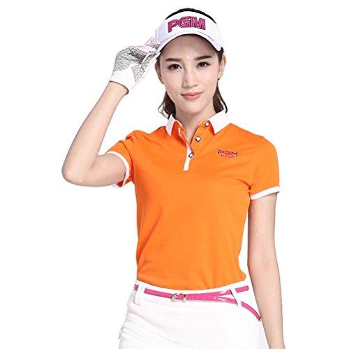 Goodgoods ポロシャツ レディース ゴルフウェア 女性用 アウトドア 半袖 021-xsty-yf038(XL オレンジ)