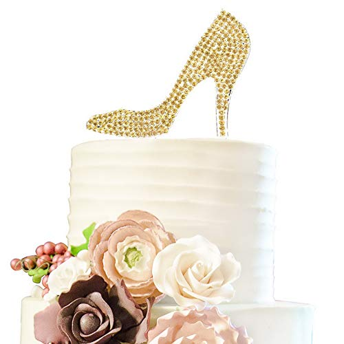 Mikash Crystal High Heels Shoes Gold Rhinestone Cake Topper Birthday Hen Night Wedding Party Gift Sparkly Tion | 2 | Model WDDNG - 1584 ()