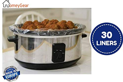"""30 pk Large Crock Pot & Slow Cooker Liners – 22""""x12"""" 3 to 7 Quart Easy Clean Up Plastic Bags for Crockpot, Aluminum Cooking Trays, Pans – Non-Stick & Oven/Microwave Safe – by HomeyGear"""