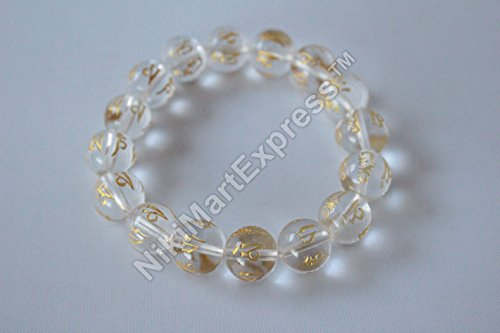 Tibetan Round Clear Quartz Beads Mantra Bracelet Lucky Healthy Wealthy Feng Shui Protection Amulet