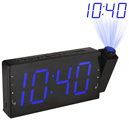 LeeQin Projection Alarm Clock, FM Radio Alarm Clock with USB Charging Port, 3 Dimmers, 12 Hrs Display, Snooze Setting and Battery Backup for Bedrooms, Ceiling, Kitchen and Home