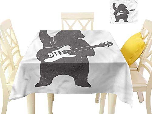 "WilliamsDecor Jacquard Tablecloth Bear,Music Guitar Rock n Roll BBQ Tablecloth W 54"" x L 54"""