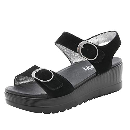 Alegria Morgyn Womens Sandal Black Suede 38 EU - Footwear Nappa Suede Black