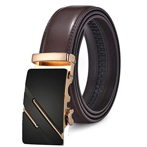 115cm 120 con Cricchetto per classica per Cintura Cm marrone Cintura uomo pelle fibbia automatica uomo Lllm in g0aw6a