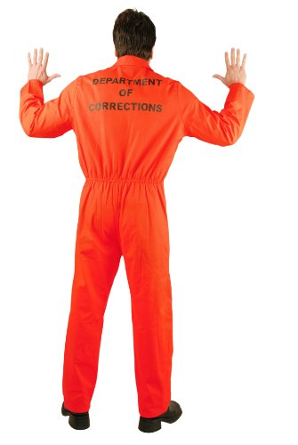 [Charades Men's Bad Boy Department Of Corrections Jumpsuit, Orange, Medium] (County Jail Jumpsuit Costume)