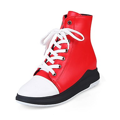 RTRY Women's Shoes Leatherette Fall Winter Ankle Strap Fashion Boots Boots Wedge Heel Platform Round Toe Mid-Calf Boots Lace-up For Casual Red US8 / EU39 / UK6 / CN39 cUGON