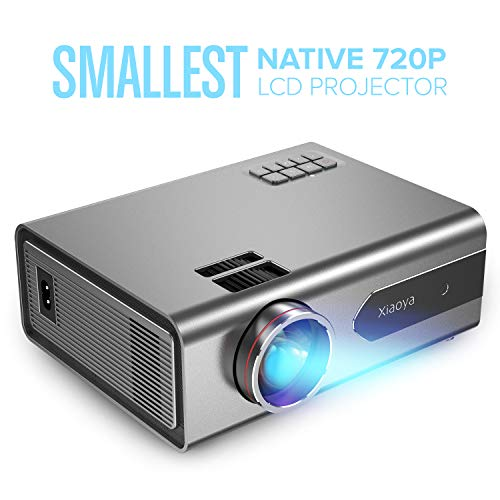 XIAOYA T8 Mini Projector, Native 720P Portable Movie Projector with 3200 Lumen 170″ Home Theater Projector Support 1080P Display, Compatible with HDMI, VGA, AV, SD and USB