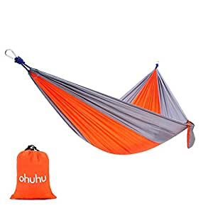 "Ohuhu Portable Nylon Fabric Travel Camping Hammock, 115"" Long X 55"" Wide, 600-Pound Capacity, Orange & Gray"