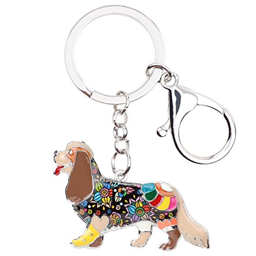 Enamel Alloy Chain Cavalier King Charles Spaniel Dog Key Chains For Women Girl Car Purse bag Charms Gift (Brown)