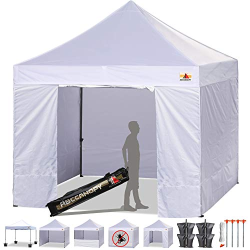 Used Trade Show Display - ABCCANOPY Deluxe 10x10 Instant Canopy Craft Display Tent Portable Booth Market Stall with Wheeled Carry Bag, Bonus 4X Weight Bag