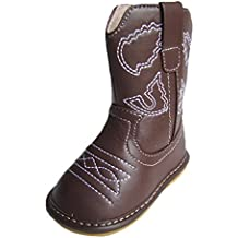 Squeaky Shoes Toddler Dark Brown Leather Cowboy/Cowgirl Boots