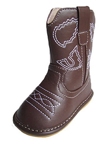 Squeaky Shoes Toddler Dark Brown Leather Cowboy/Cowgirl Boots (6) 6 Inch Down Boot