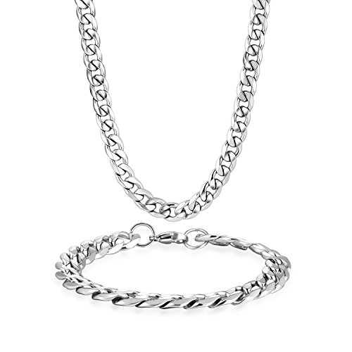 Steel Beveled Cuban Curb Link Italian Chain Mens Necklace Bracelet Set ()